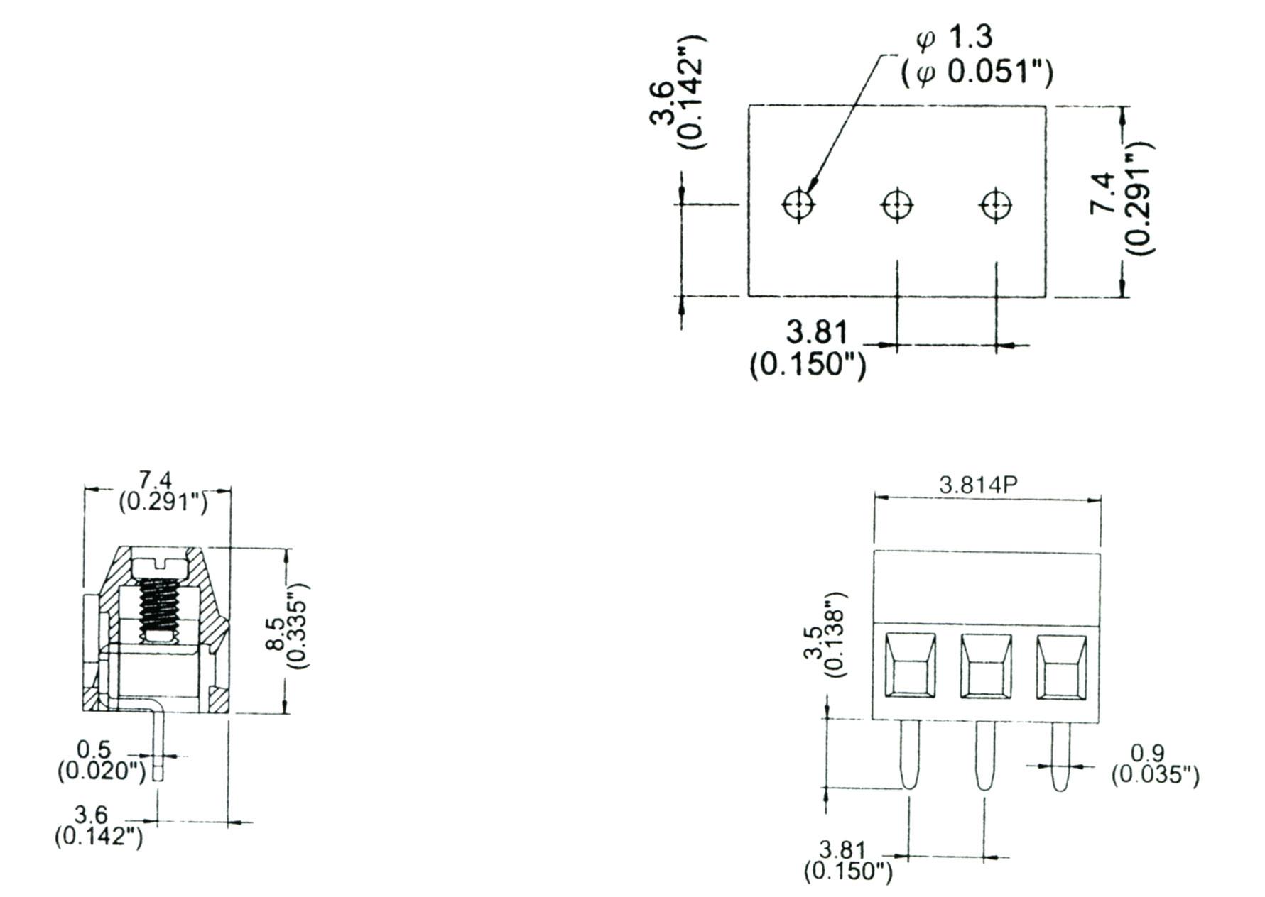 CBP2-HC381 歐式接線端子台,PCB端子台